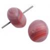 Glass Pressed Beads 8mm Round Red/Brown Matt